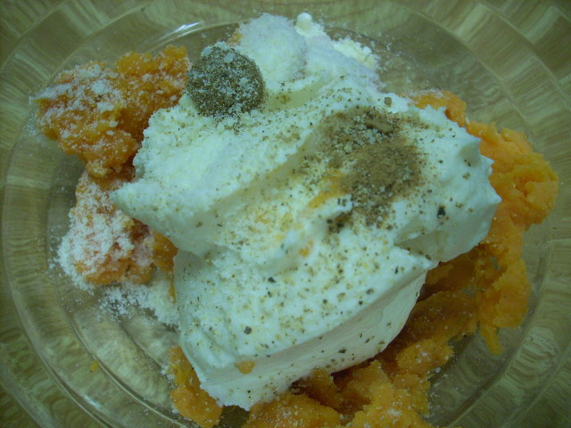 1 1/2 cups cooked sweet potato, 1/4 teaspoon splenda brown sugar, 1/4 teaspoon nutmeg, 1 tablespoon paremsan cheese, salt and pepper