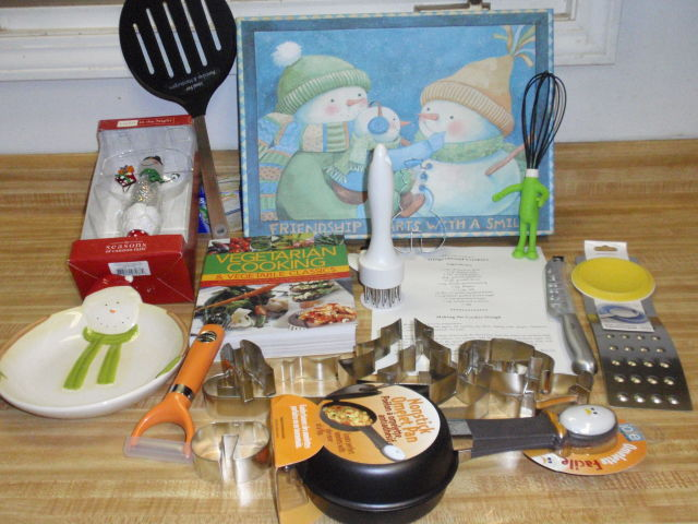 along with my other loot - a snowman night light, snowman tray with Panera gift card, and a vegetarian cook book!